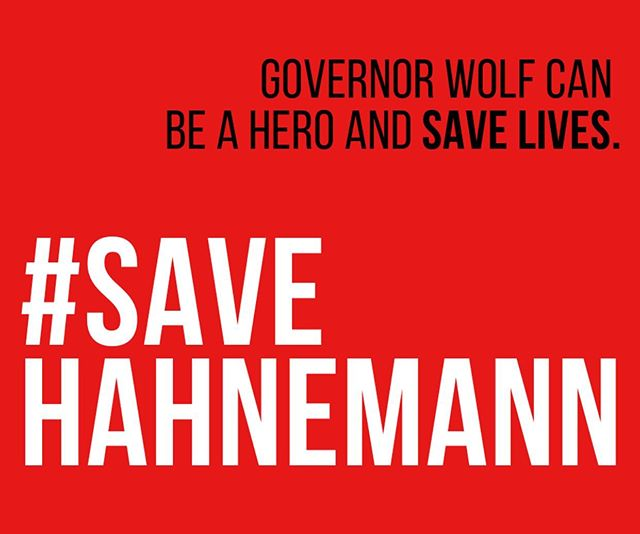 Every day, Hahnemann saves some of the neediest patients in Philadelphia. In the midst of a gun violence epidemic, an opioid crisis, and staggering poverty, we can't afford to lose it. Call Governor Wolf TODAY at 717-787-2500 and tell him to be a hero and #SaveHahnemann!