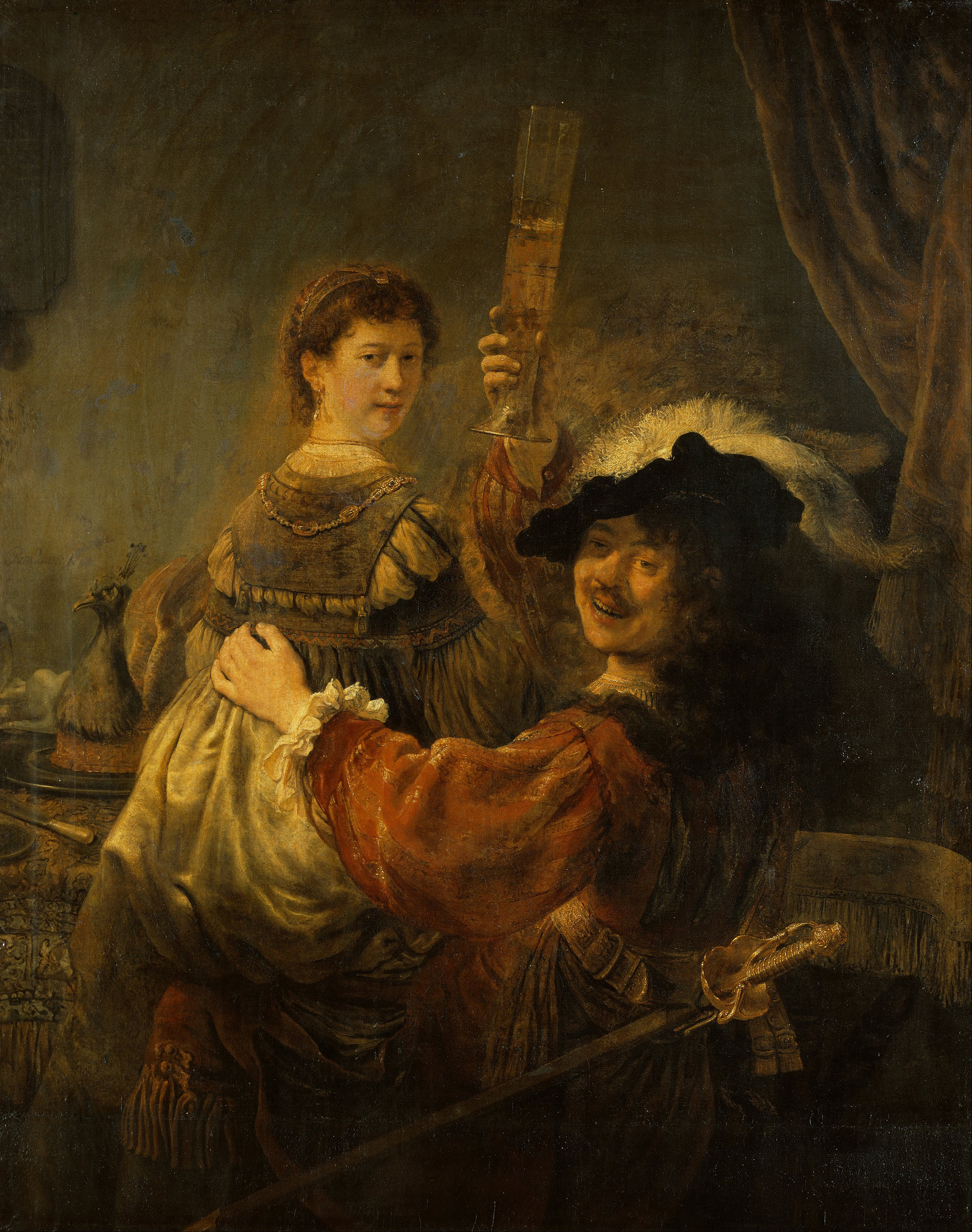 Rembrandt,  Prodigal Son in the Brothel  or  Rembrandt and Saskia in the parable of the prodigal son.  1635, Gemäldegalerie Alte Meister, Dresden.