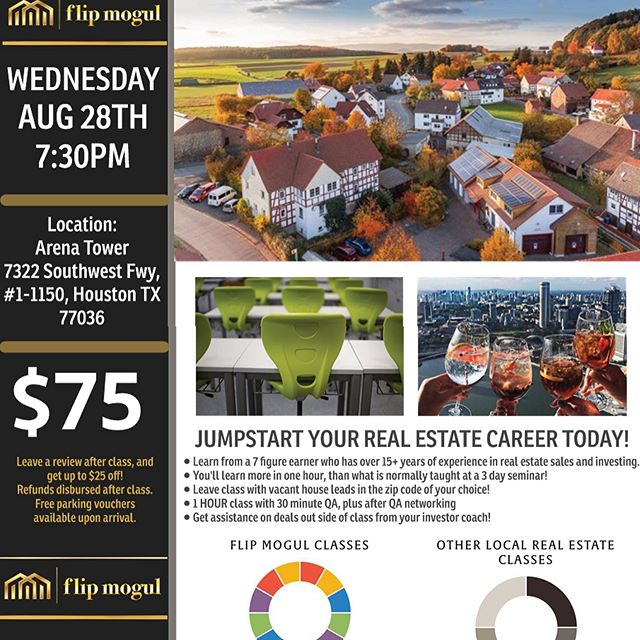 Only a few spots left for Wealth Building Wednesday in Houston! Book now to learn how to make 6 figures this year using AirBnB without owning any real estate, how to profit from foreclosures, how to buy apartment complexes without any of your own money, and how to fund your deals even if you have no credit or income!