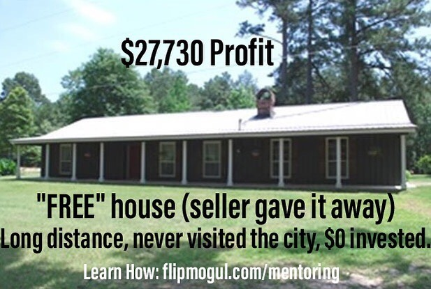Long distance flip, never saw the house, seller gave it away! $27K profit.