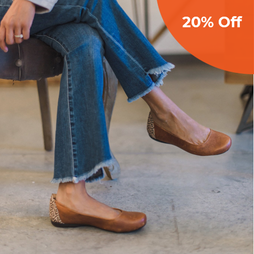 Gaby Flat in Chestnut Leather    The Root Collective $118.00   Save 20% off your first order  with promo code: DONEGOOD