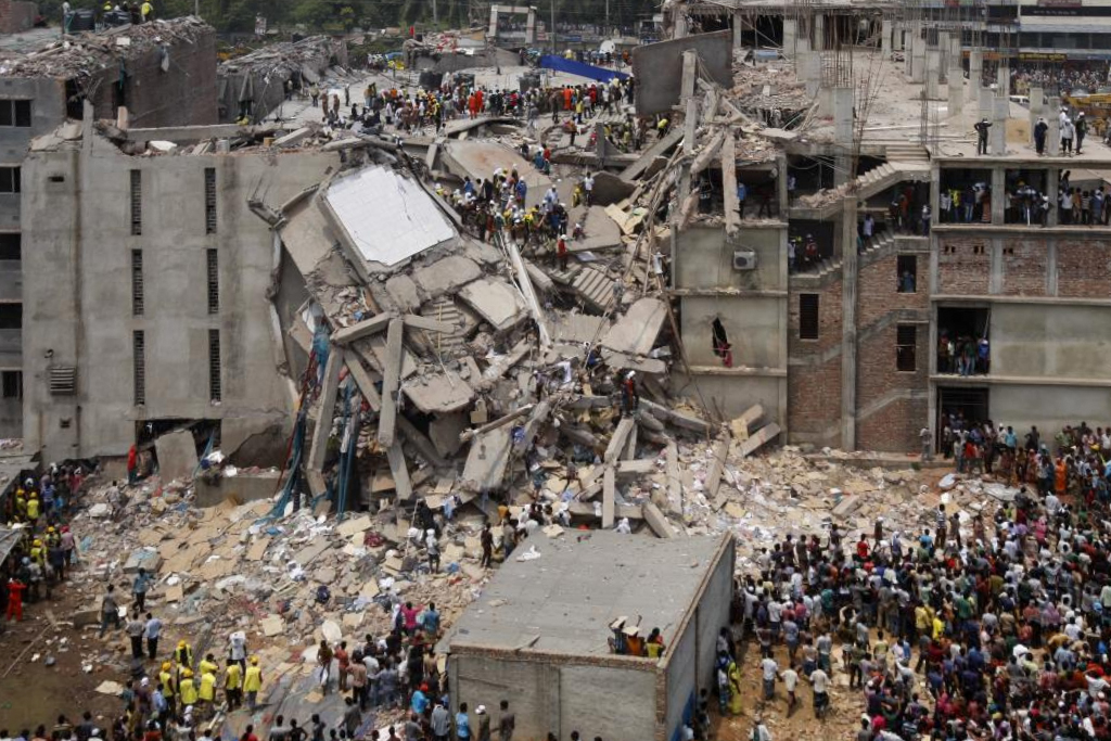 Despite cracks in the building forcing the closure of shops on the lower floors, the garment factory in the eight story  Rana Plaza  building remained filled with workers until the building's horrific collapse on April 24, 2013. To date, this is the deadliest factory accident in history.