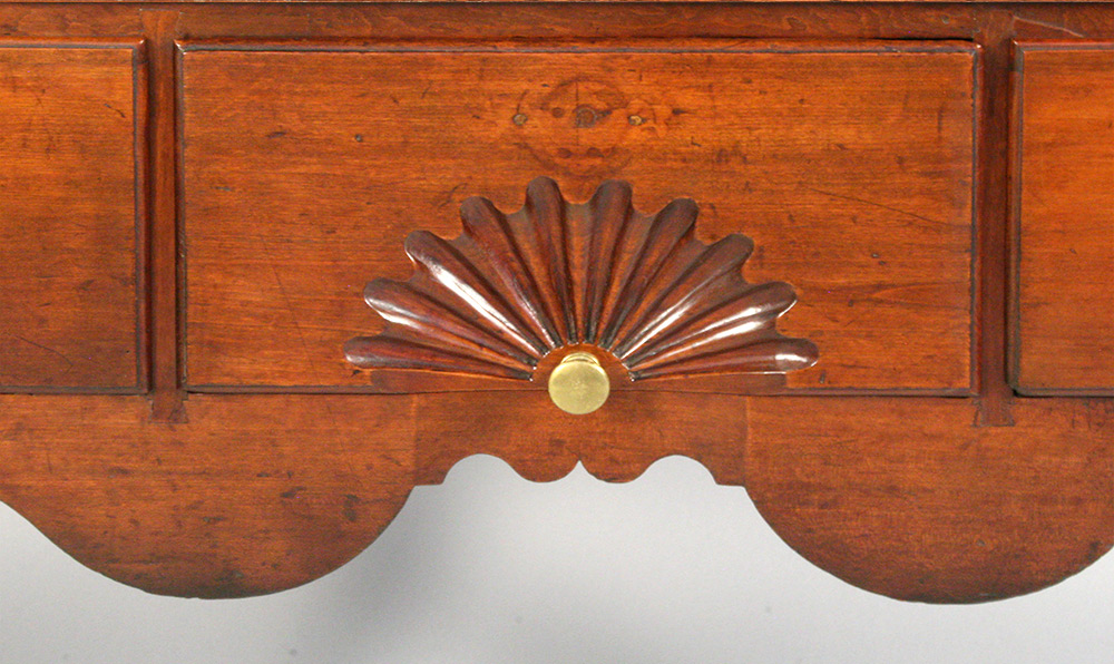 Detail of a Queen Ann highboy after conservation