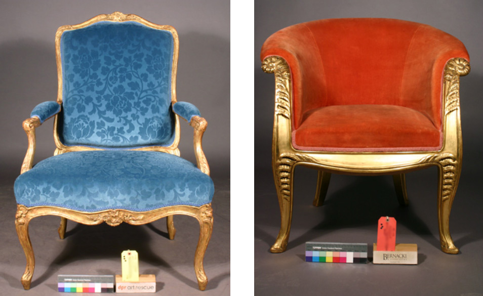 """Two examples of chairs: both French, both from iconic periods and locations of French design and craftsmanship, both from a noted craftsman/designer and their workshops, both upholstered and gilt wood frame armchairs, both water gilded gold leaf, both with extensive gilding losses that were extremely visible, both damaged and needing treatment, both important enough to deserve conservation. The two examples of chairs are comparable in many ways but with completely different levels of problems.  One example is a set of two fauteuils from the second half of the eighteenth century. A fauteuil is style of armchair that has an upholstered seat, back, and armrests, has open arms, and has a primarily exposed wood frame that is often gilded. The set of chairs are stamped on the inside of the back seat rail: """"I. GOVDRIN"""" (the V for a U).   Read full story..."""