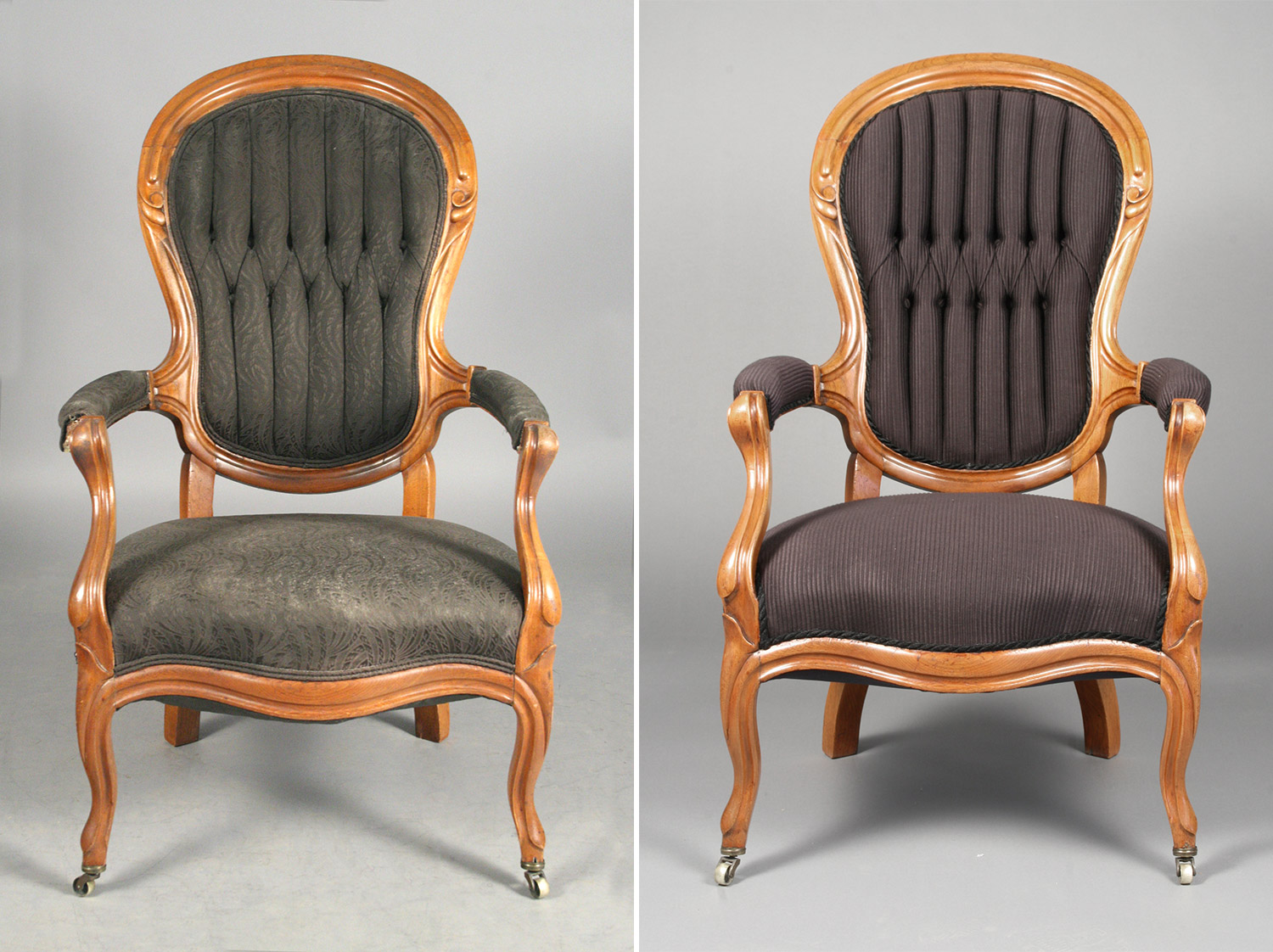 Victorian armchair before and after re-upholstery