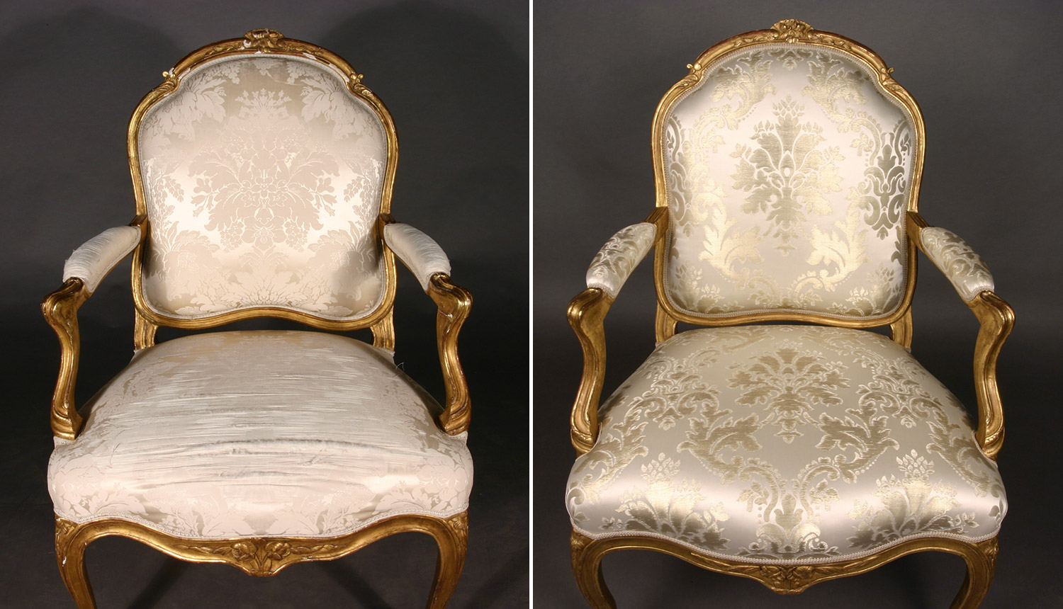 Louis XV armchair prior and after upholstery fabric replacement