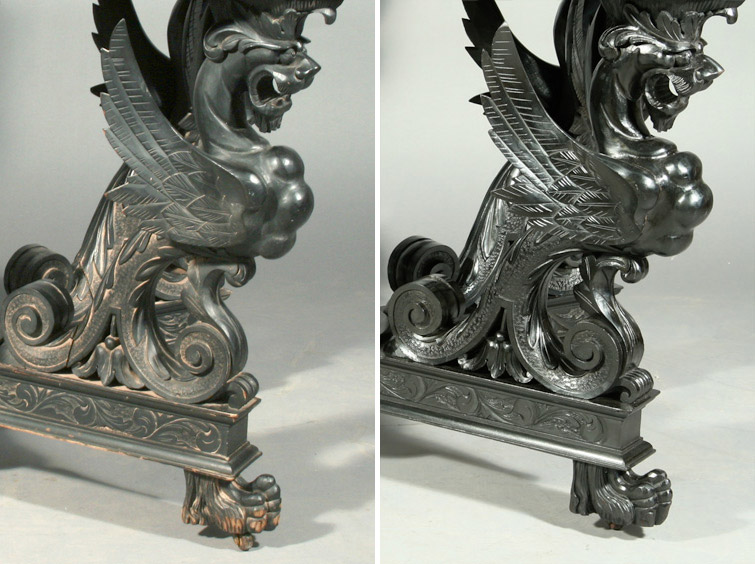 Left: Detail of an Empire style ebonized table exposed to flood waters. Visible mud residue, finish abrasions, and expansion cracks threaten its survival. Right: The same table leg, seen after emergency DPR conservation services restored its original beauty.