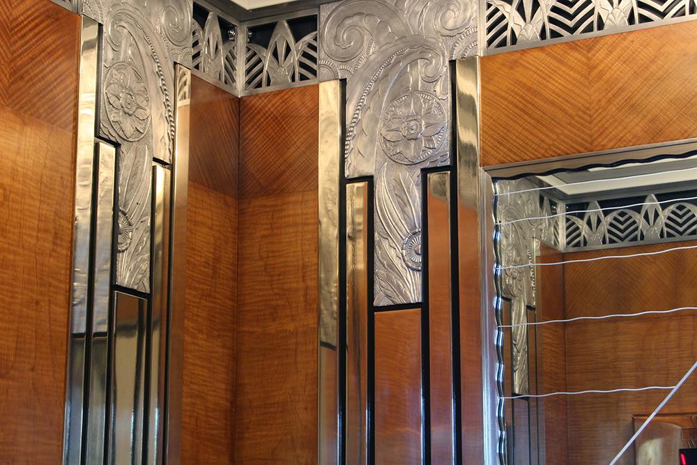 Detail of elevator interior after restoration