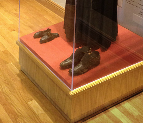 Mother Cabrini shoes display at the Chicago Shrine