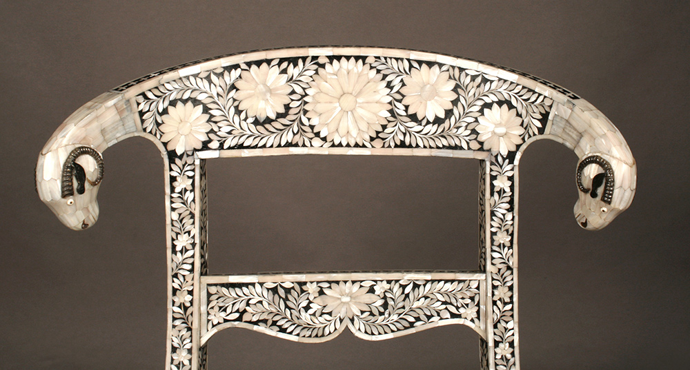 Mother-of-pearl inlaid klismos style chair - detail