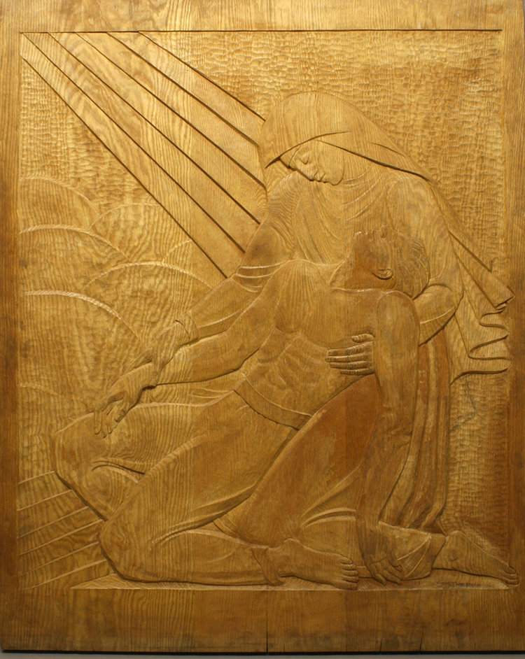 Malvina Hoffman,  Pietà,  1960, Wood Relief (before conservation treatment)