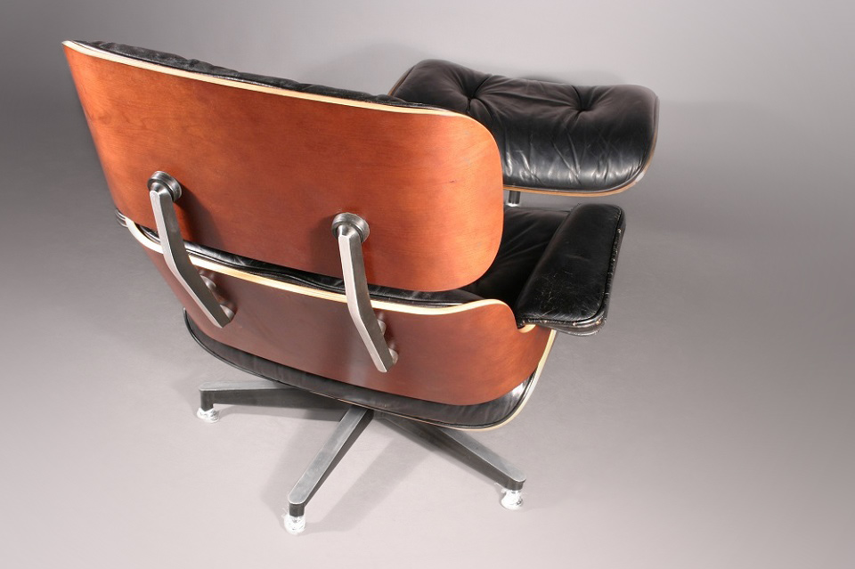 Restored Eames Lounge Chair - bent plywood parts fabricated by Herman Miller