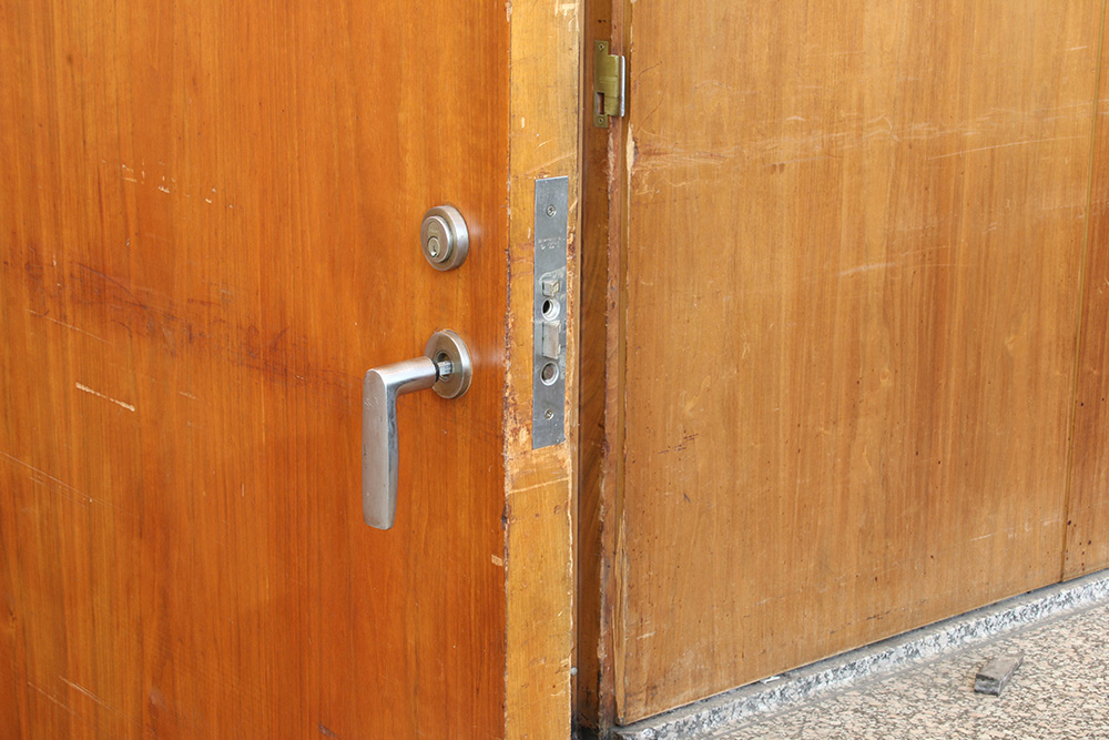 Door detail before treatment | Photo courtesy of GSA