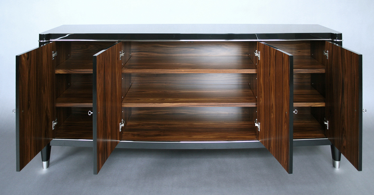 High gloss, piano finish buffet with nickel plated trim and sabots, and clear coated rosewood interior