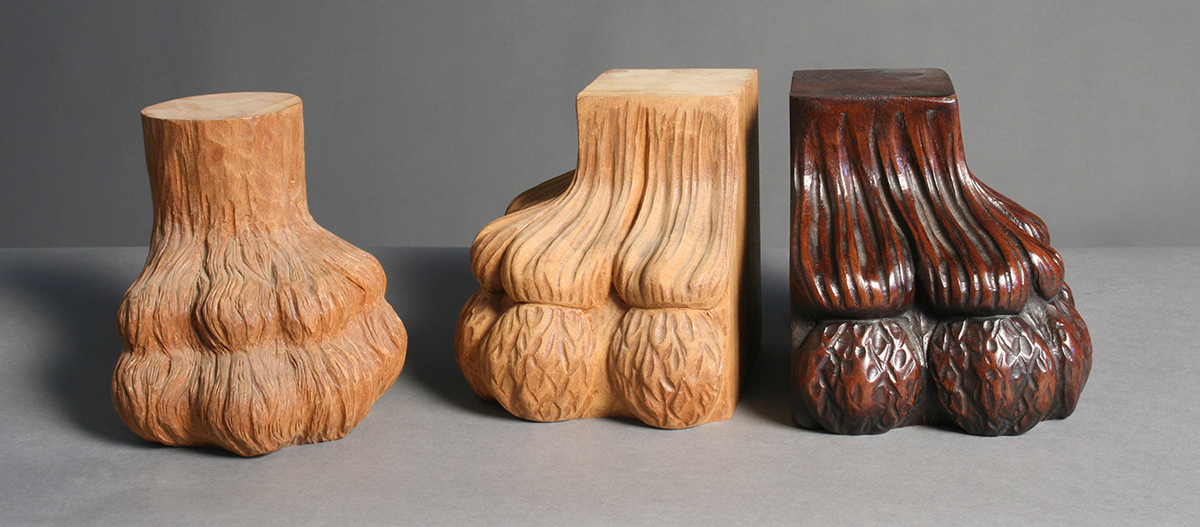 "Samples of ""antique"" finish and hand carved elements"