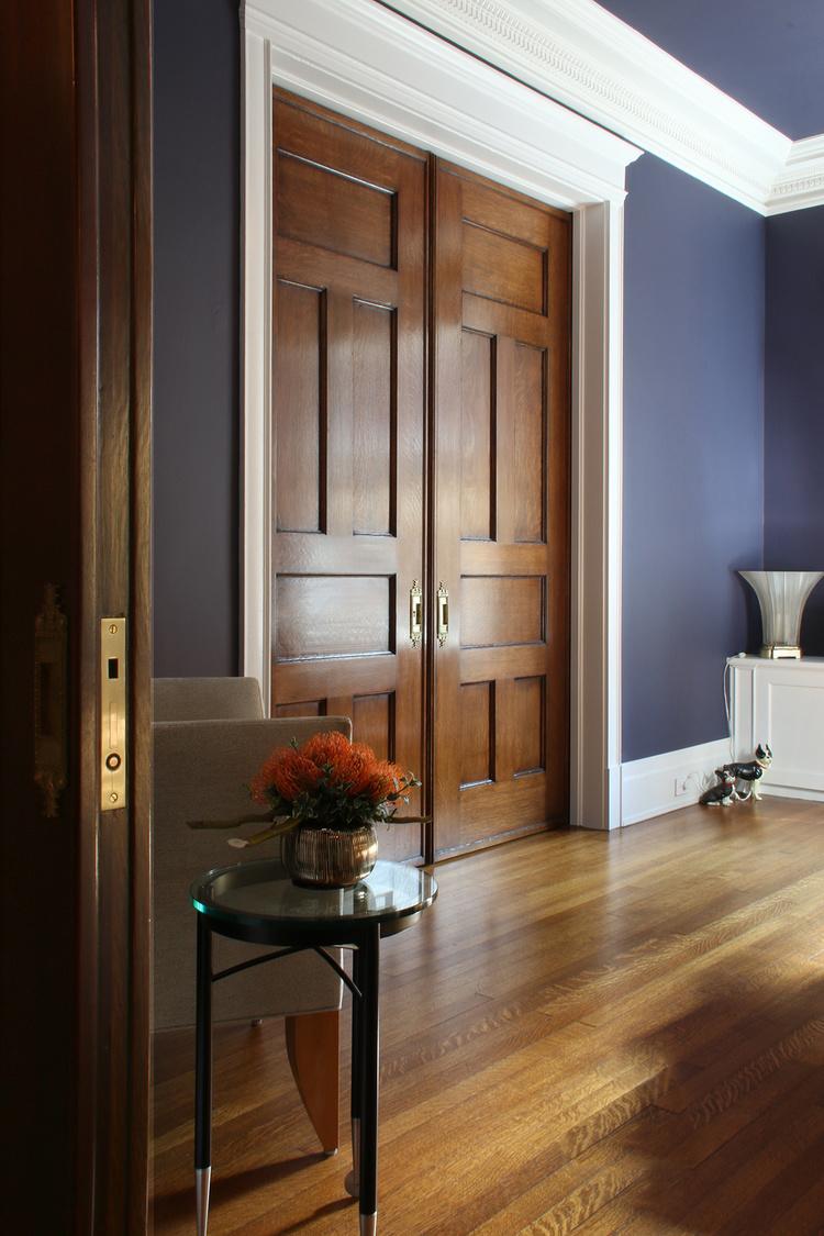 Historic pocket doors restored by Bernacki & Associates, Inc.