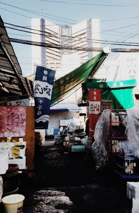Strolling through a market in Tokyo filled with ceramics, seafood, and spices on my first day in Japan.
