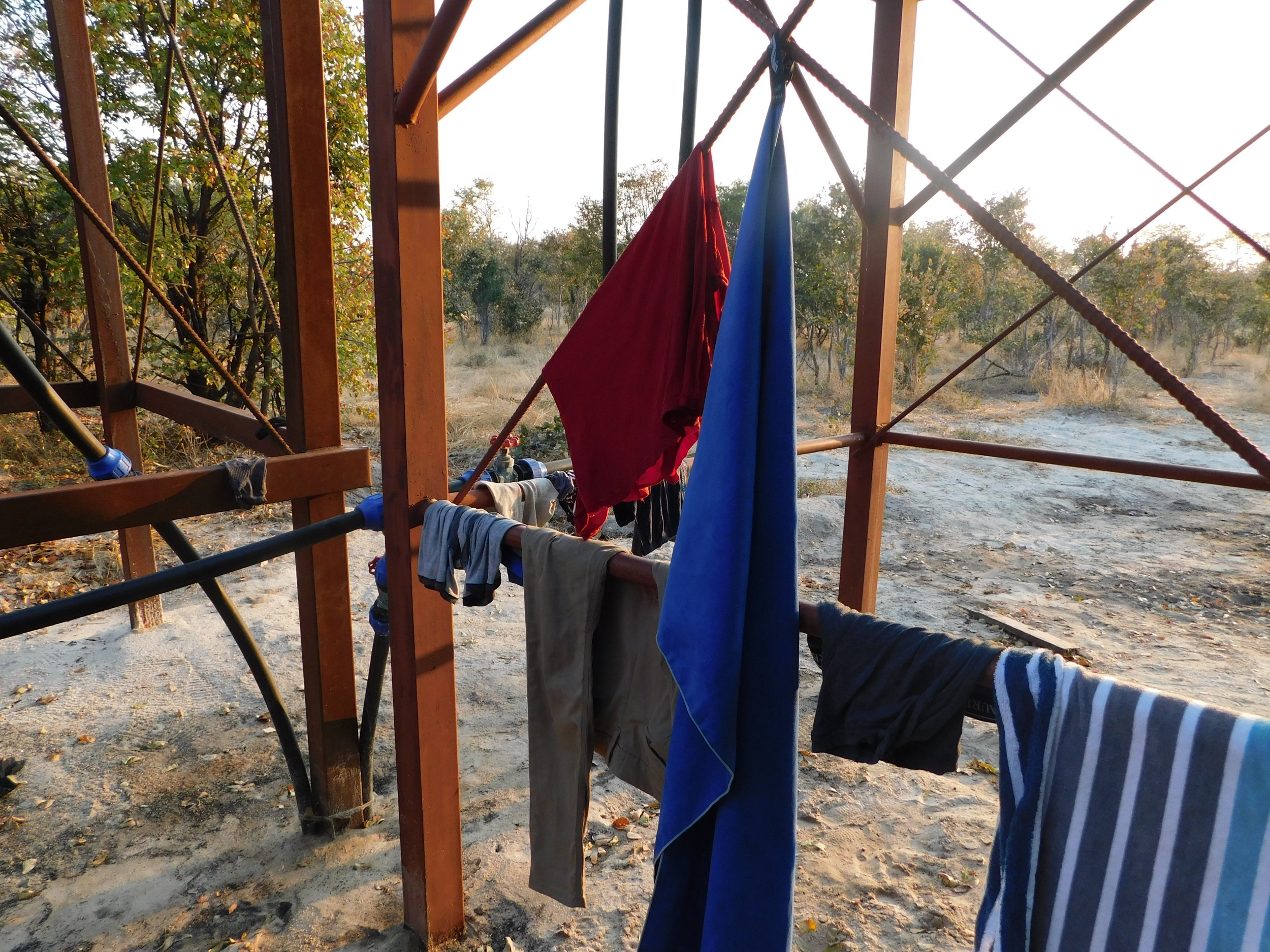 Our laundry trying to dry before the sun went down.