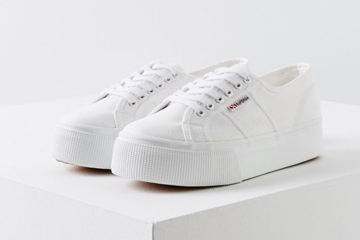 These platform white supergas are super trendy and in right now. Everyone is wearing them- and those who aren't are probably order them. Made of canvas, they're super easy to clean and are the perfect darty shoe.  $80