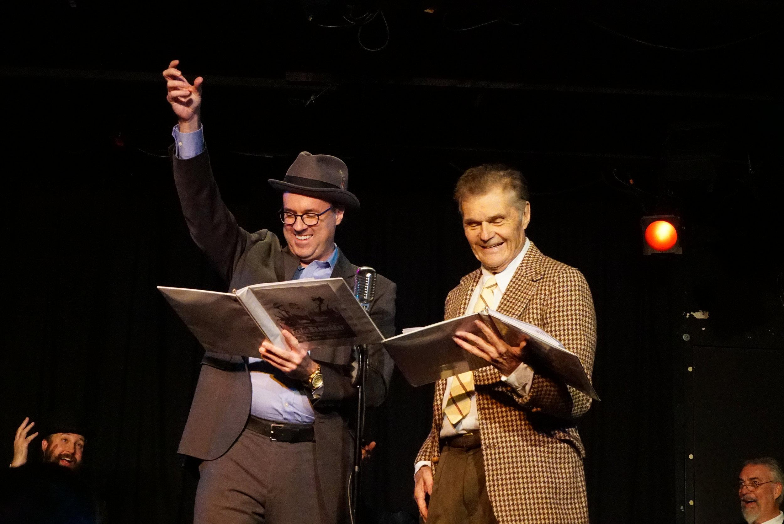 Cast member Scott Hennelly, delighting Emmy-winner Fred Willard on stage in LA