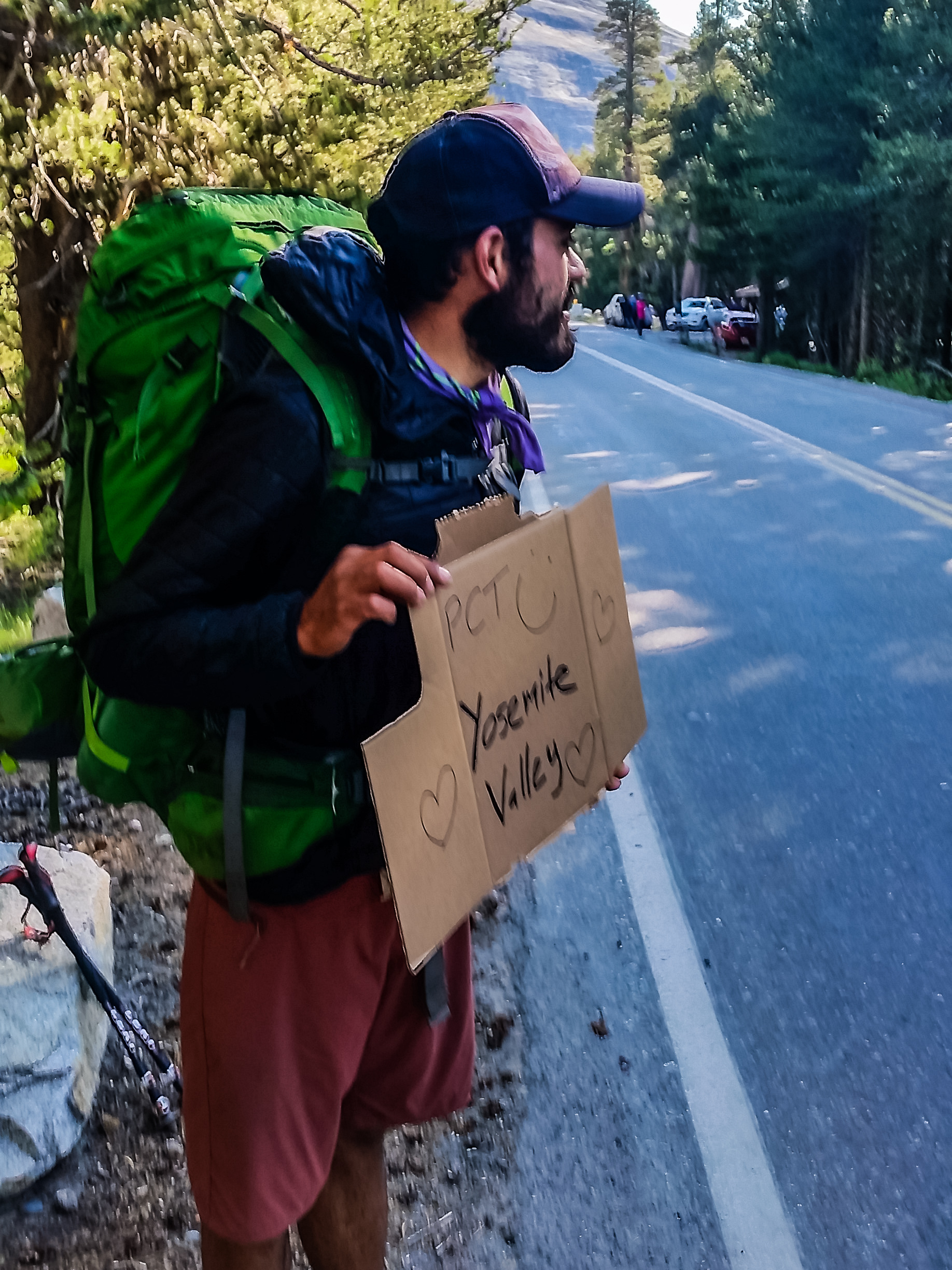 We made it to Tuolumne Meadows and decided to hitchhike to Yosemite Valley