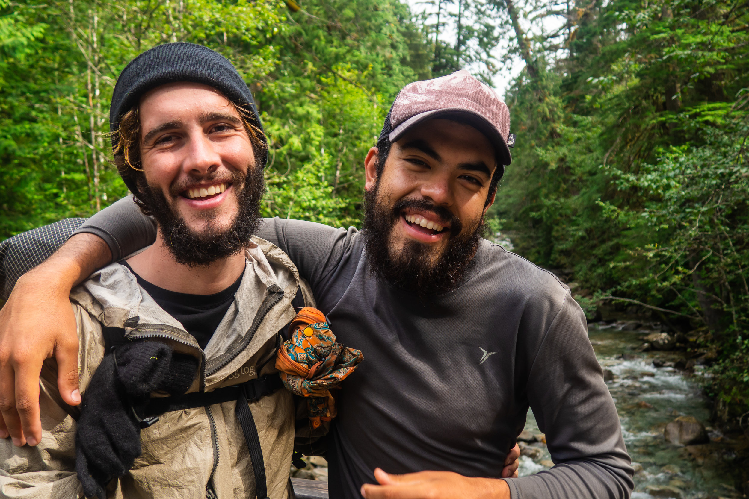 """""""Chips"""" and I. My best friend on trail. I met Chips near mile 300, and started hiking with him in the Sierra. We made it to Canada together"""