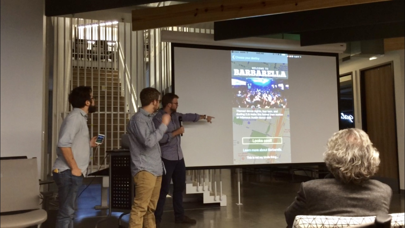 "Pitching Blindfold (originally called ""Destiny"") at the transportation-themed hackathon Startup Drive"