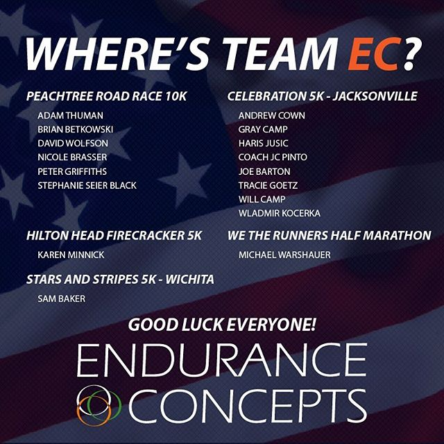 Easily the most raced day in the Endurance Concepts calendar! We hope everyone has fun celebrating our wonderful nation's independence and races hard in the heat! More racing to do this weekend... stay tuned!