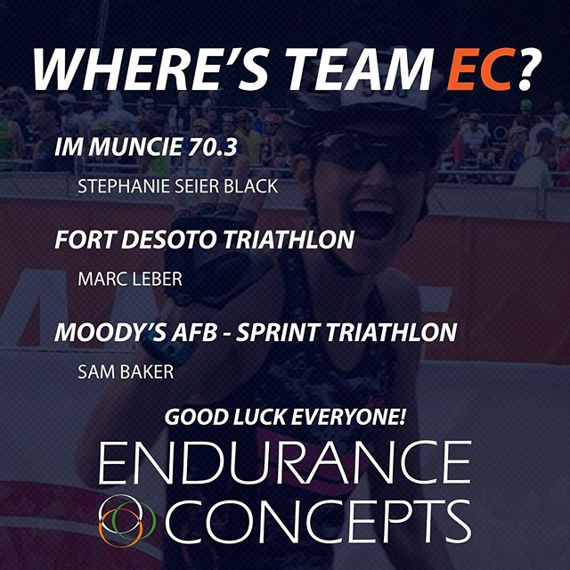 Racing is kicking back up after a very active 4th. Good luck  Stephanie, Sam and Marc! We can't wait to see that trademark Stephanie smile at the end of IRONMAN 70.3 Muncie. . . . . . . #triathlon #goteamec #swimbikerun #gotime #racehardsmileharder #muncie703 #floridatriathlon #georgiatriathlon #letthetrainingshine #raceday