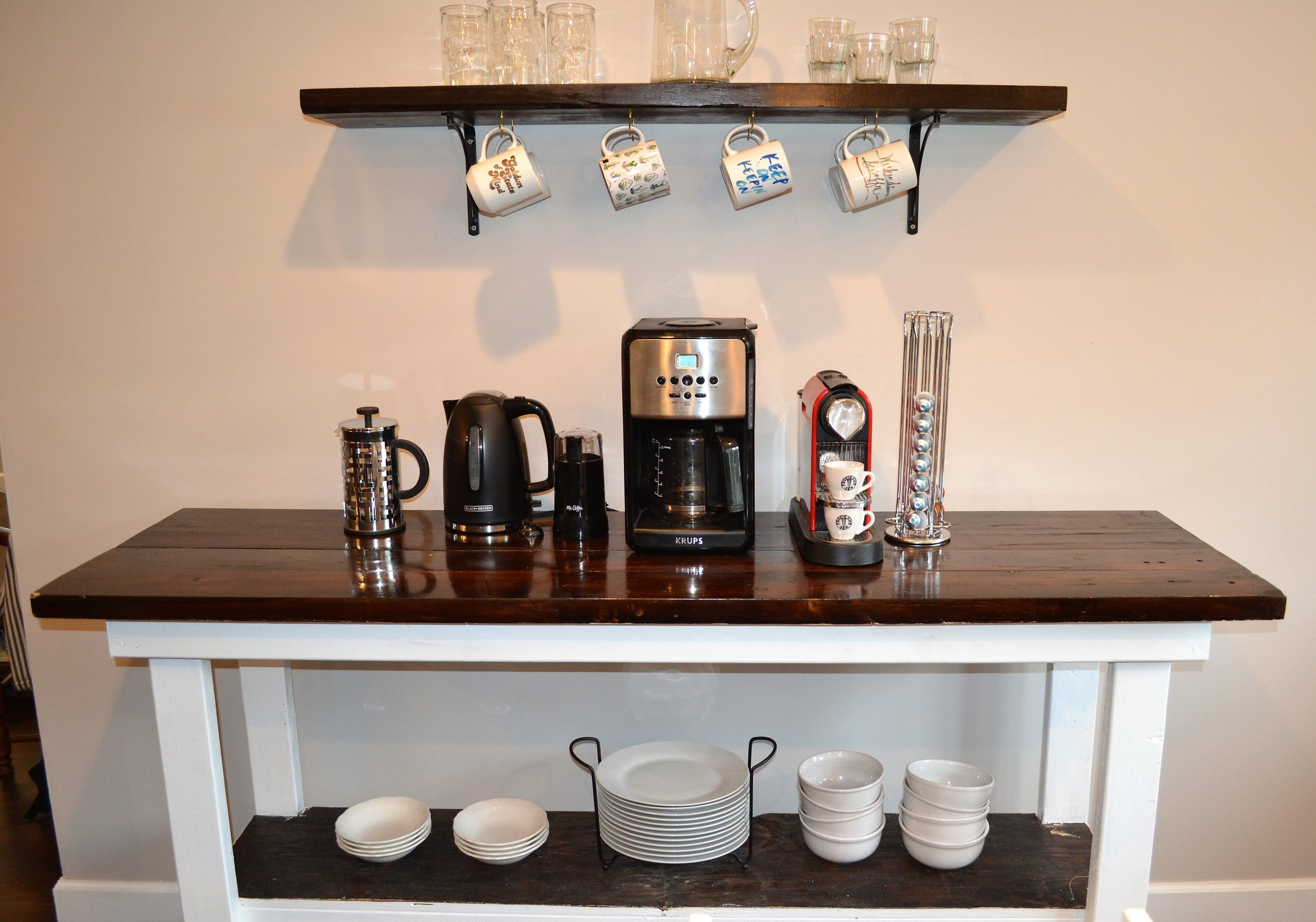 Coffee Bar with Nespresso, French Press and Automatic Drip.