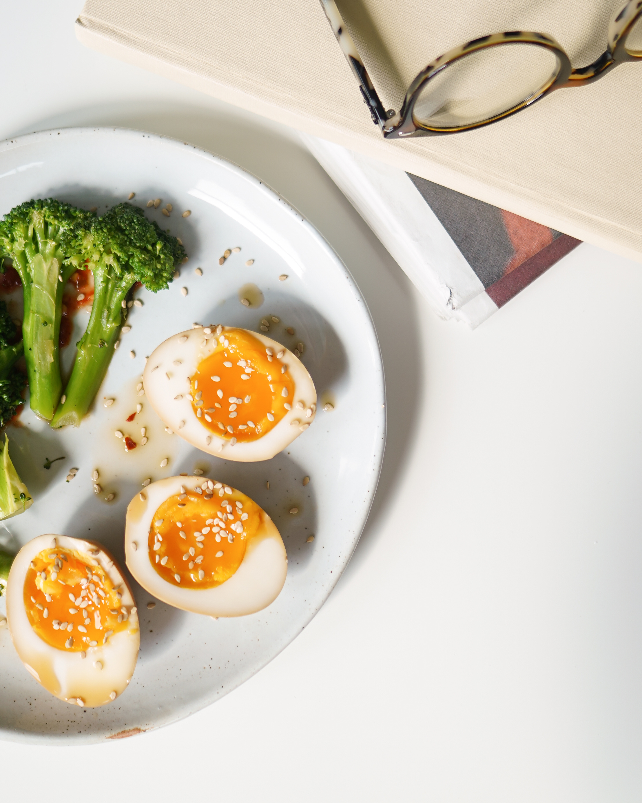 Jammy marinated eggs and spicy broccoli