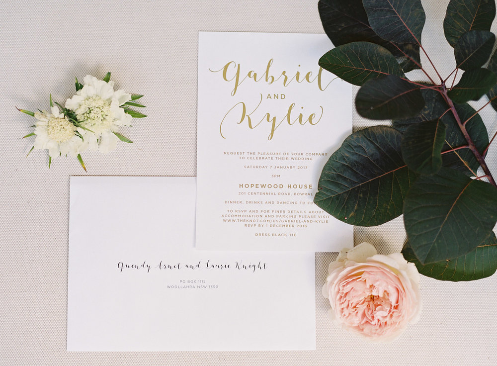 Hopewood House - Kylie & Gabriel - Wedding Day Gallery - Bowral Southern Highlands - ceremony and reception - shot 2 - invitations and roses.jpeg