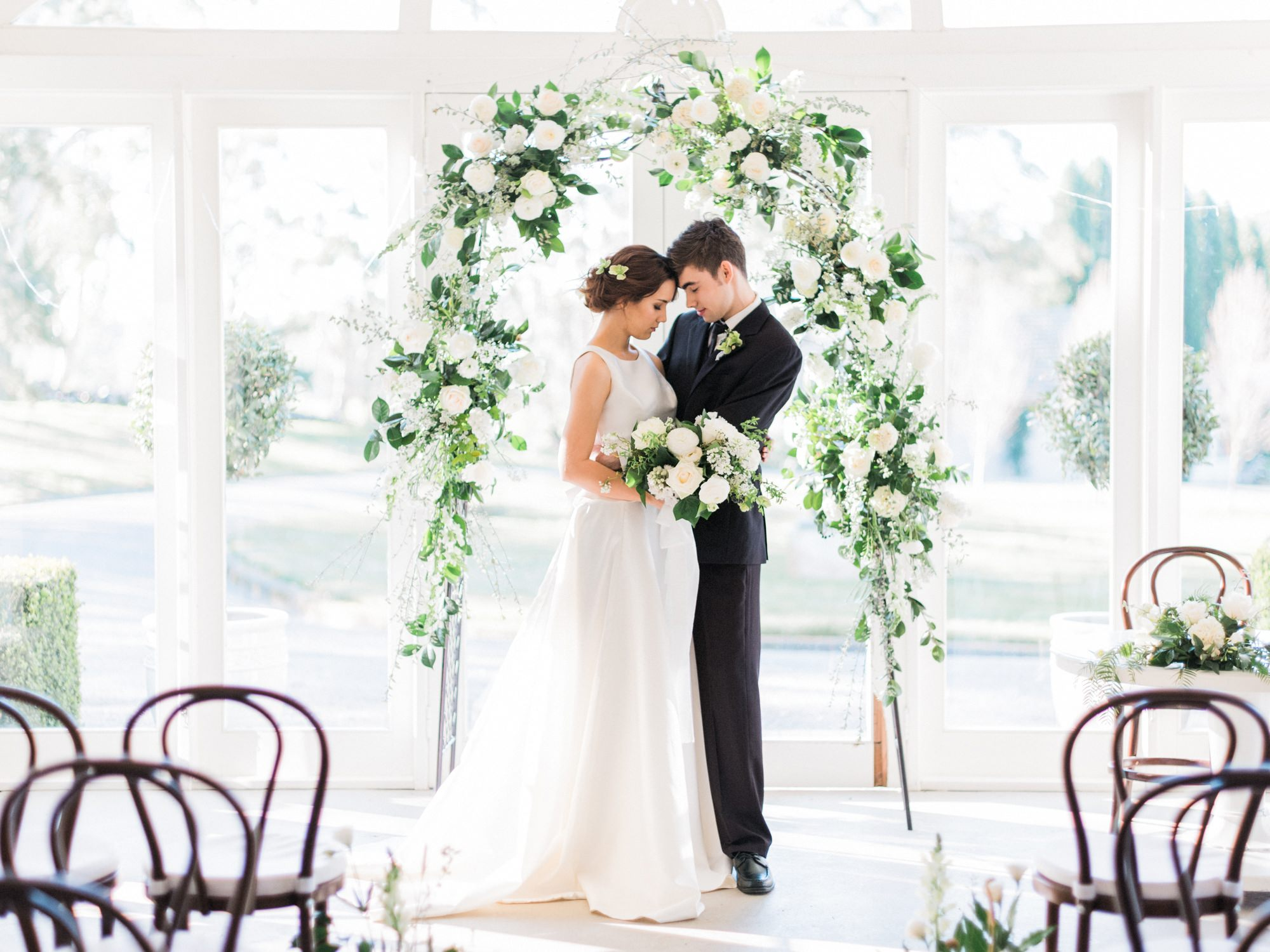 Studio Flora Co - Hopewood House - Rainy Day Weddings Shoot - Pavilion Downstairs Ballroom Ceremony Couple.jpg