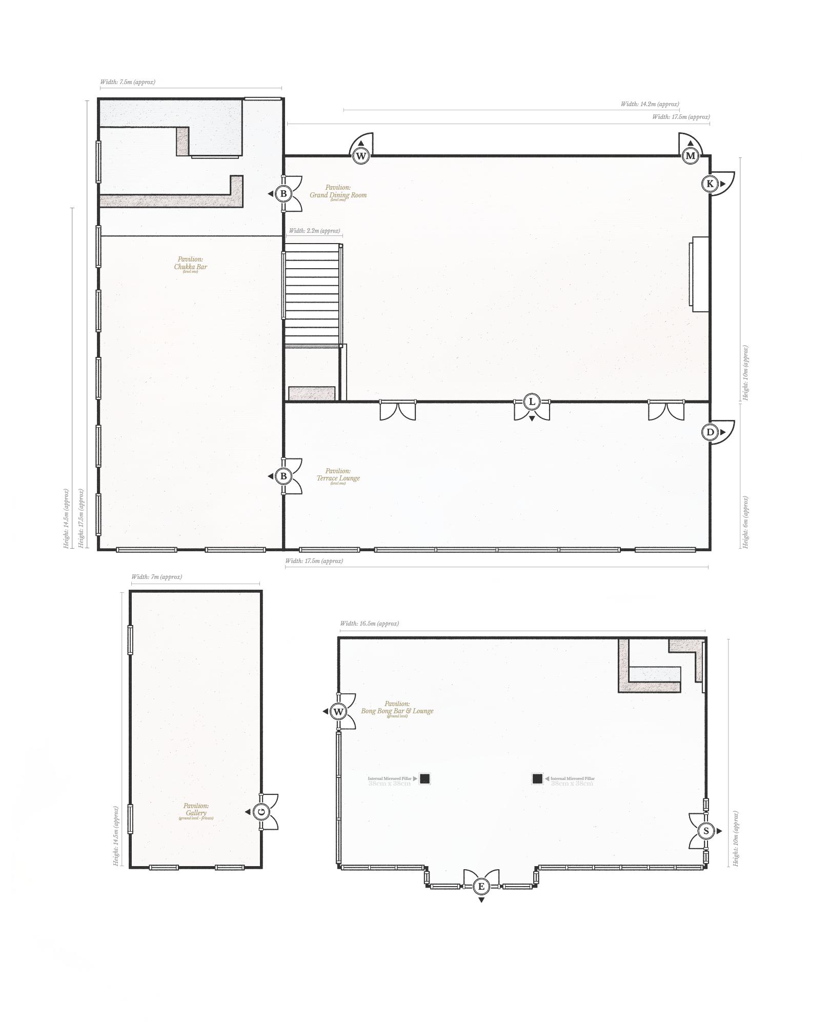 Hopewood House - Pavilion - Floor Plans (Ground Level + Level One) - Measurements