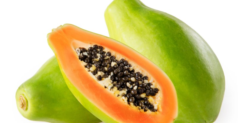 Papaya - Papaya has papain, which exfoliates & whitens the skin. It removes dead skin cells, firms up and clears the skin.Good for Acne, Scars, Glowing Skin.