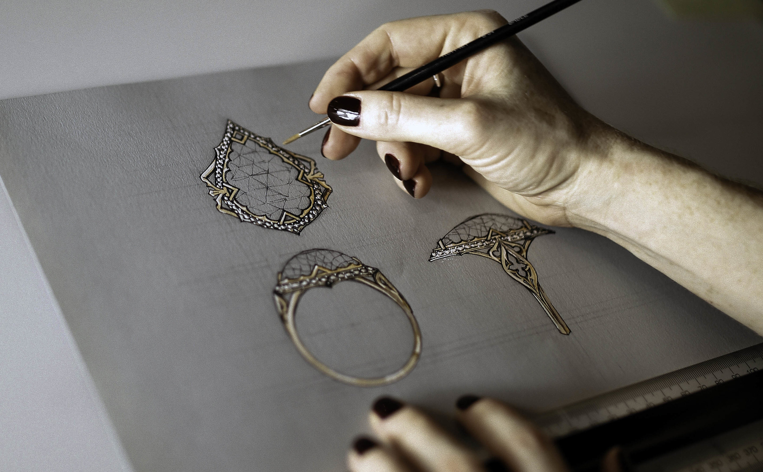 Professionally Framed Engagement ring illustration