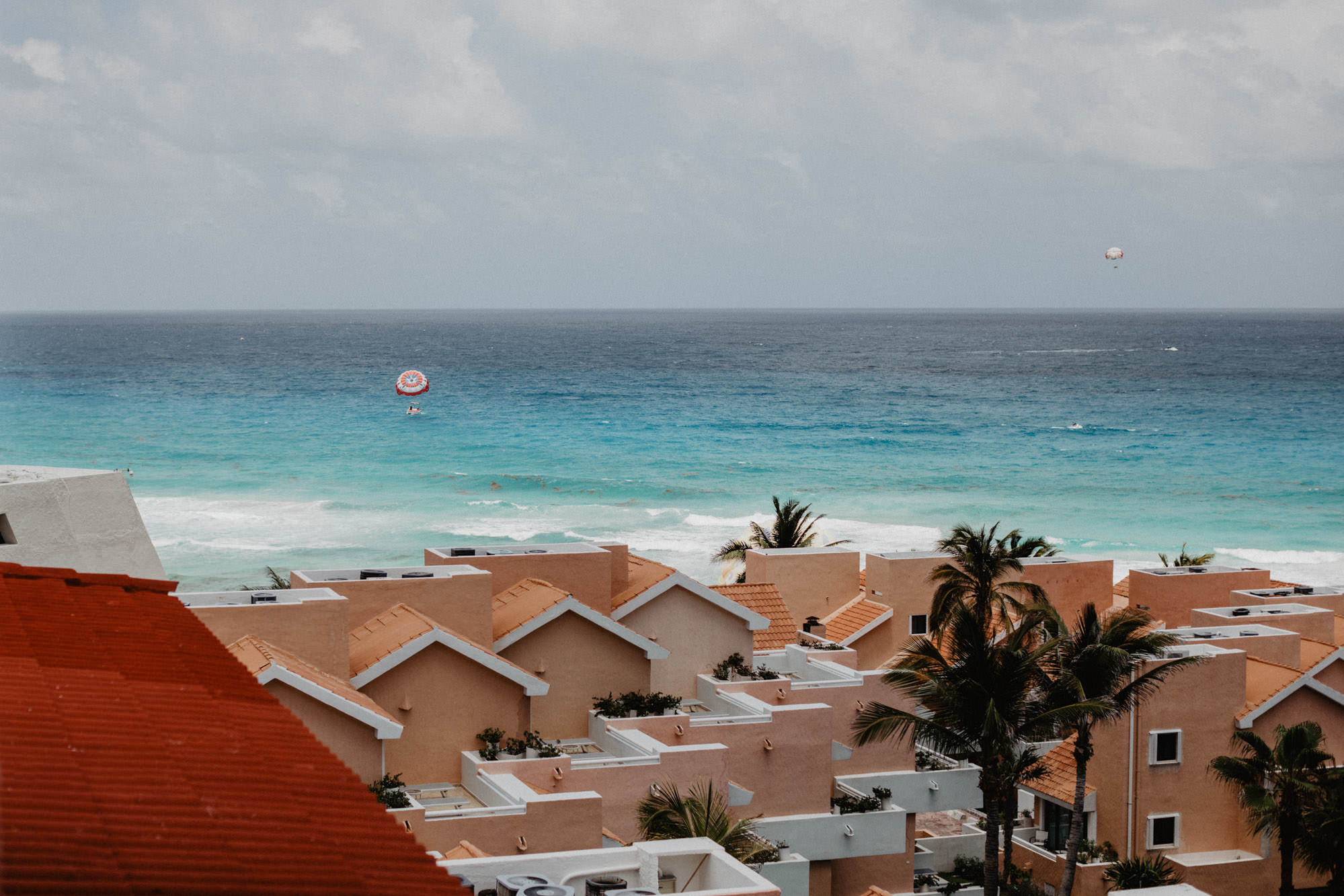 Cancun Mexico beachside destination wedding. view of the ocean