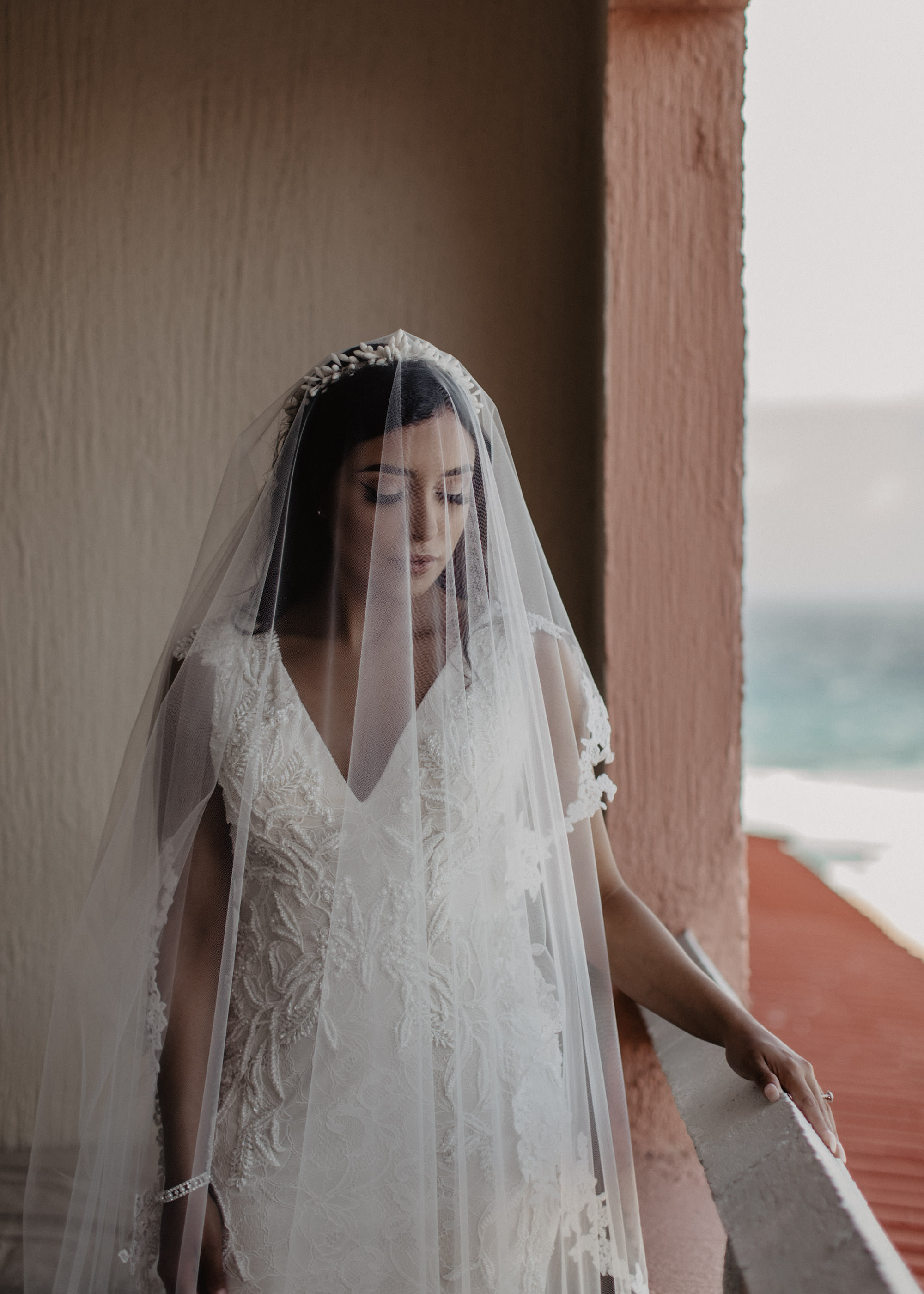 Cancun Mexico destination wedding. Bride portrait. beach wedding.