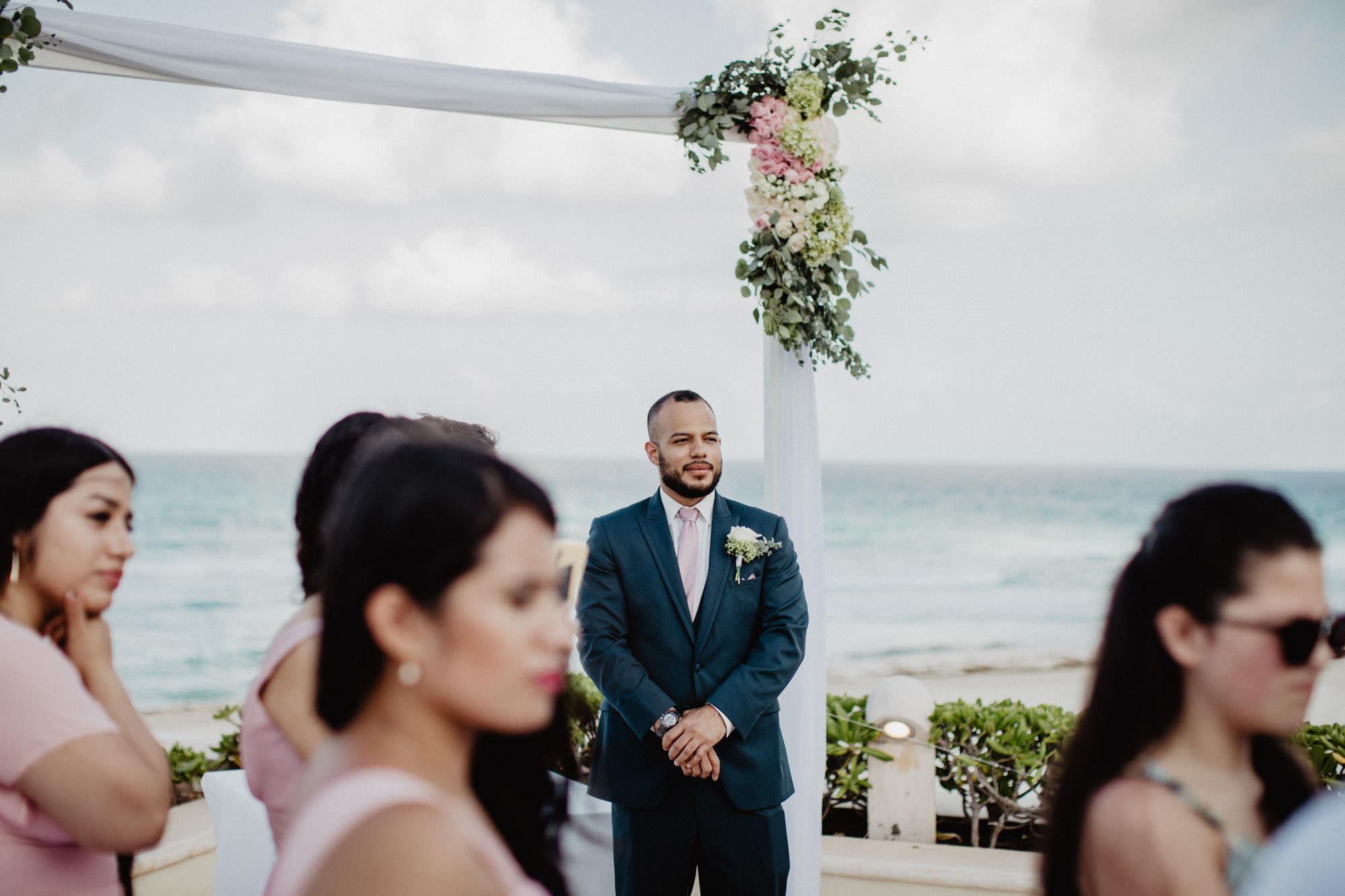 Cancun Mexico beachside destination wedding ceremony