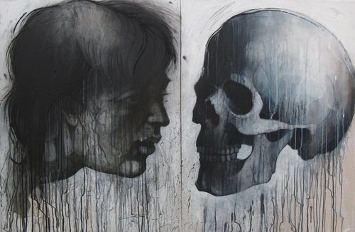 """David Limrite_There Is A Ghost In My Head, mixed media on canvas, 40""""x 60"""", 7,500.jpg"""