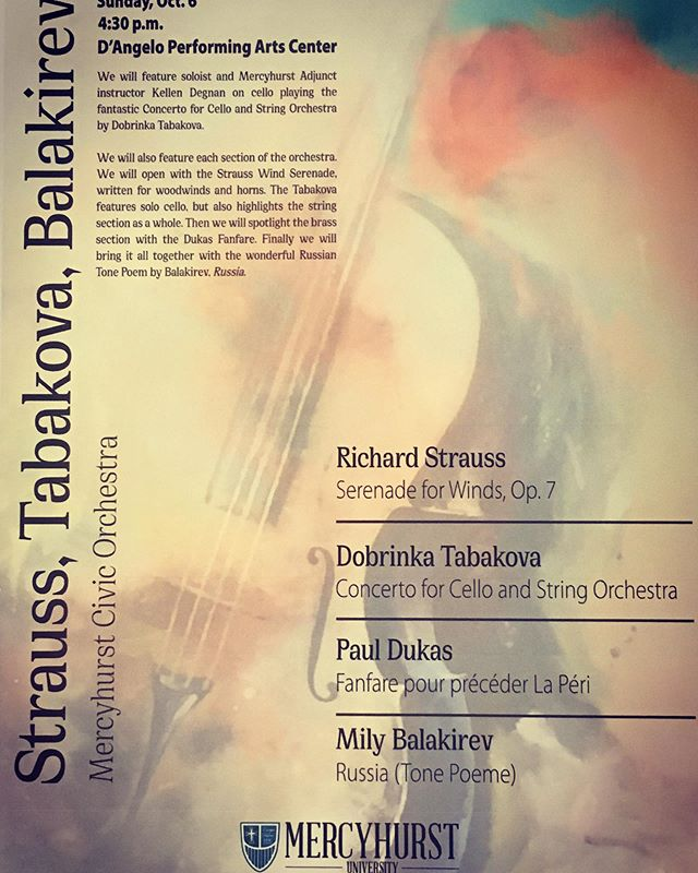 Check out this awesome poster! Check out the featured soloist! (Hint: it's me) And then come check out the concert this Sunday! @mercyhurstu #mercyhurstcivicorchestra #orchestra #cello #concerto #DobrinkaTabakova