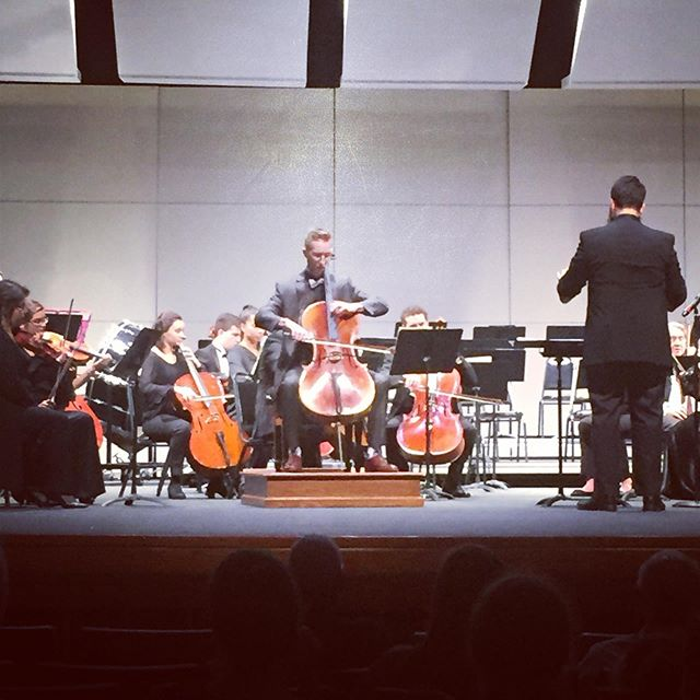 From last night's performance of Dobrinka Tabakova's Concerto for Cello and Strings. Very grateful to Jonathan Moser and the Mercyhurst Civic Orchestra for the opportunity to perform this amazing piece! Photo credit: Mackenzie Brauns #cello #concerto #DobrinkaTabakova