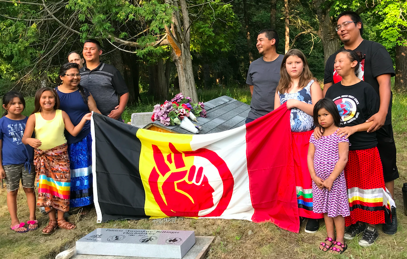 The Bellanger family in July 2019 at ceremony dedicating marker honoring Patricia Bellanger, Leech Lake, MN