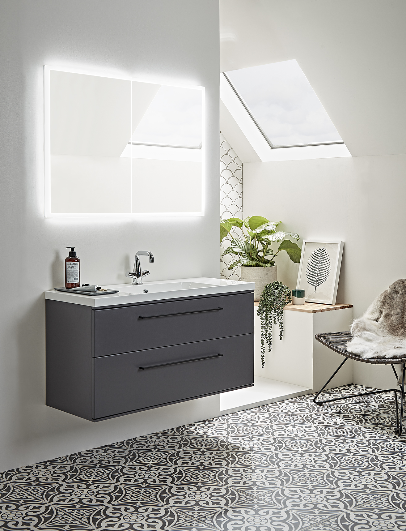 Scheme 1000mm Matte Carbon Vanity  with  Purpose Recessed Cabinet
