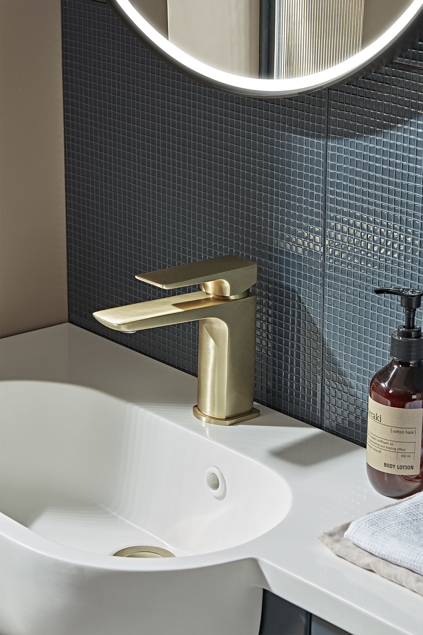 Elate Basin Mixer in Brass with Click Waste