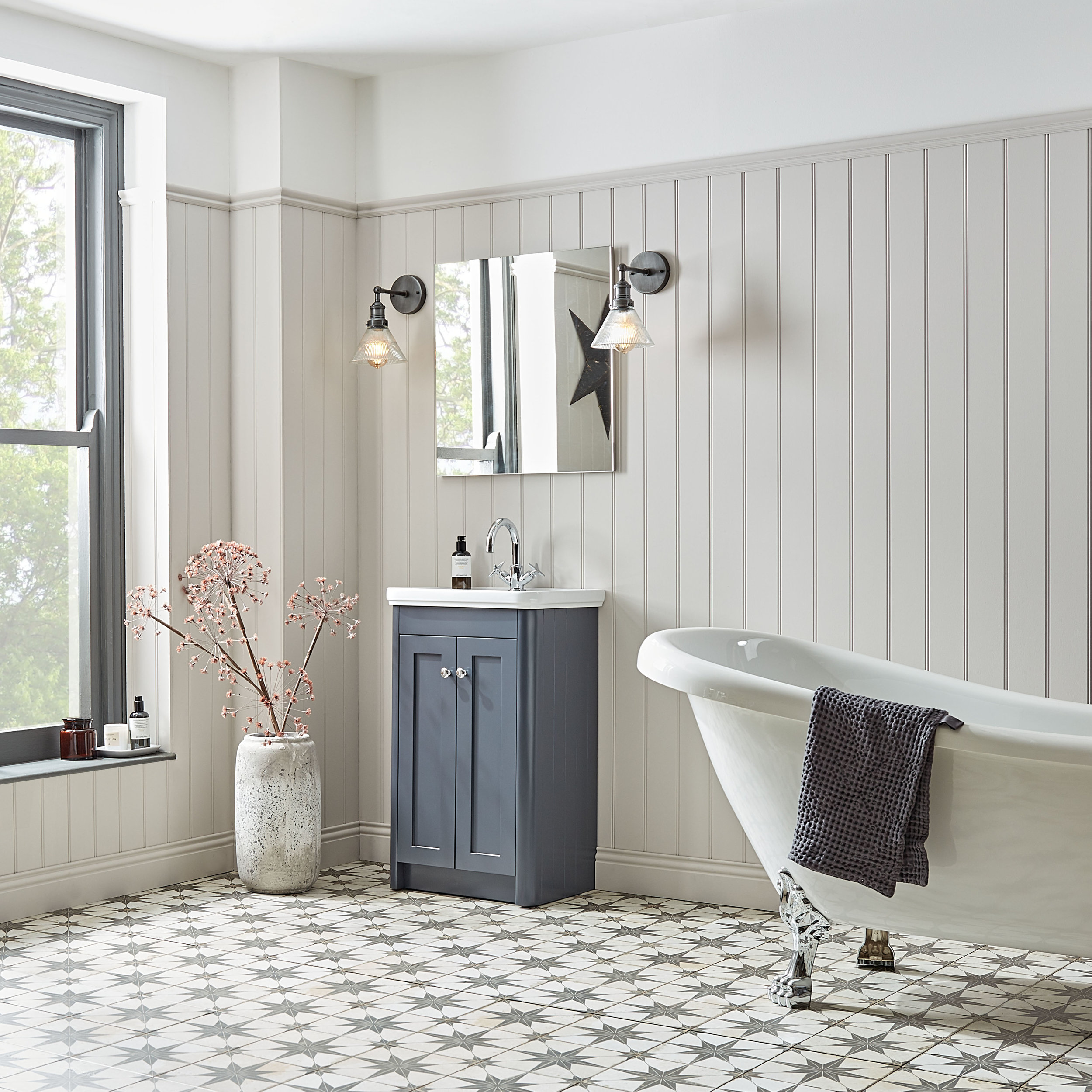Halcyon by R2 Vanity in Midnoght Grey  with Astra vinyl tiles.