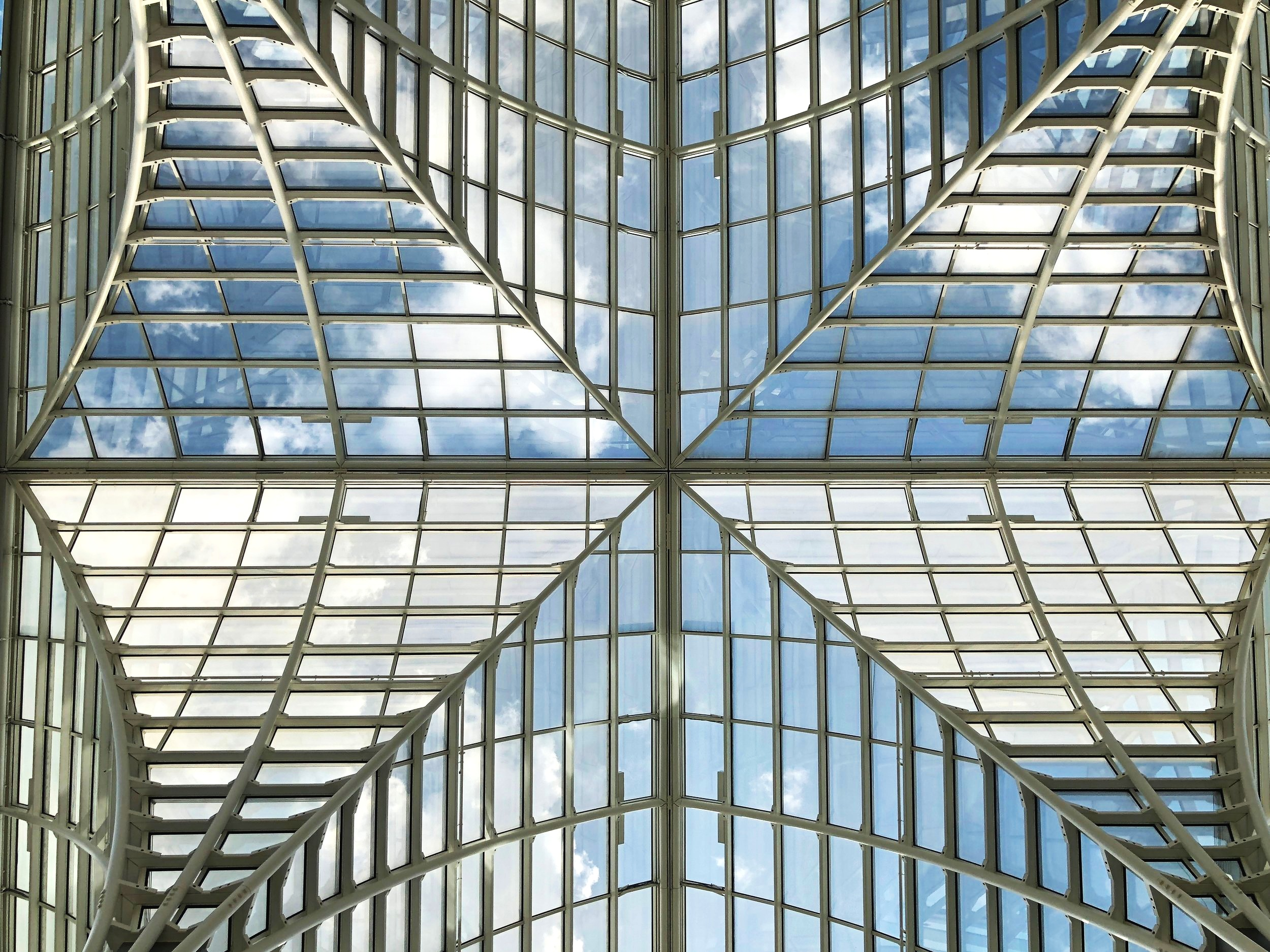 The Rothman Winter Garden glass roof at the UChicago Booth School of Business