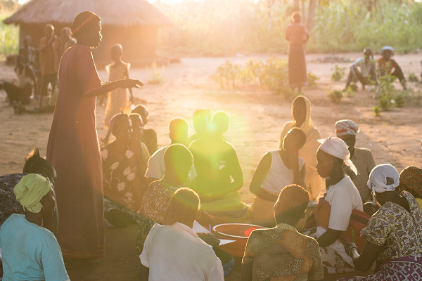A women's health group to discuss problems and answers, meeting in the setting sun