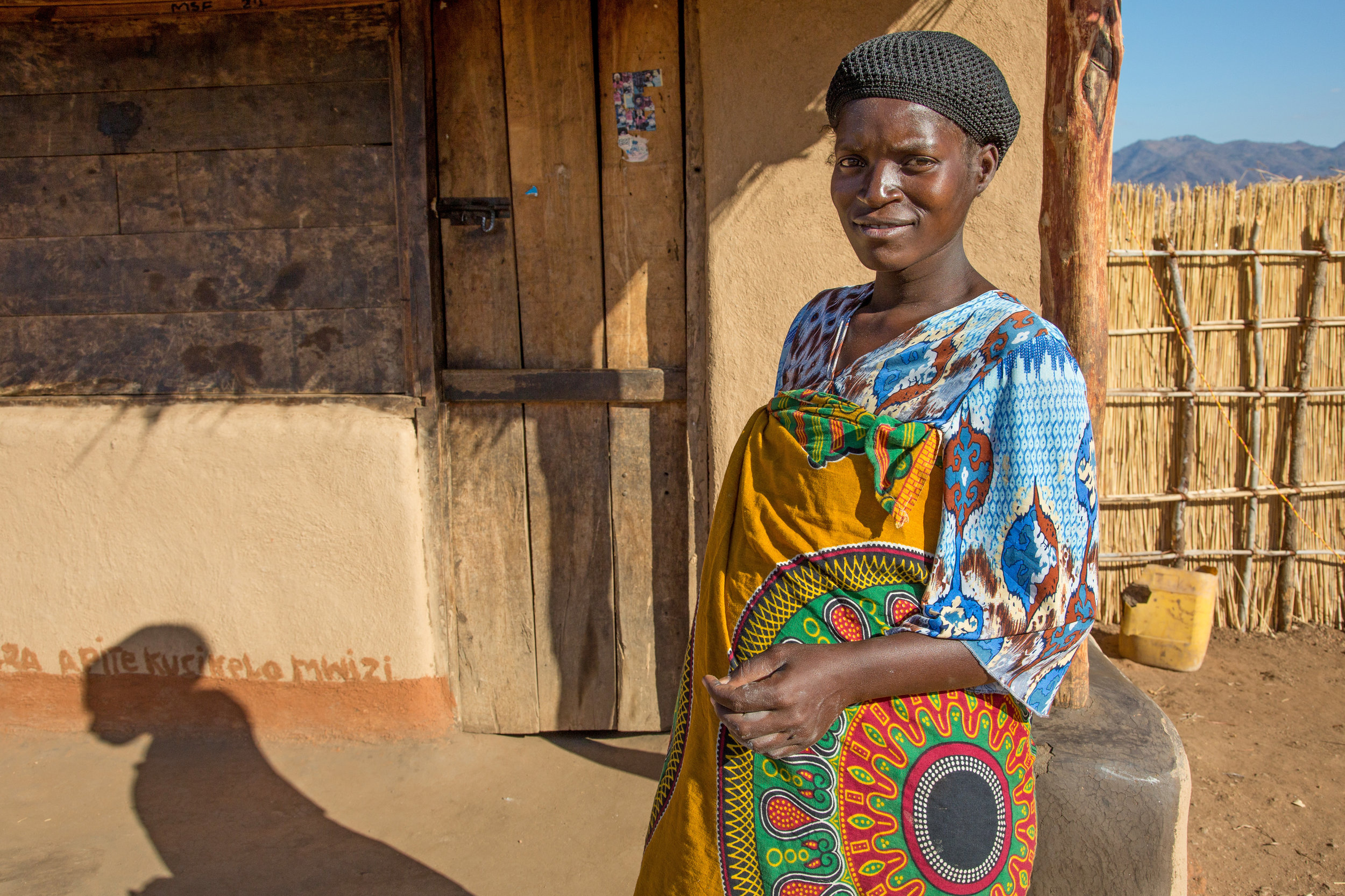 Adesi Arnold, near her women's group in Malawi