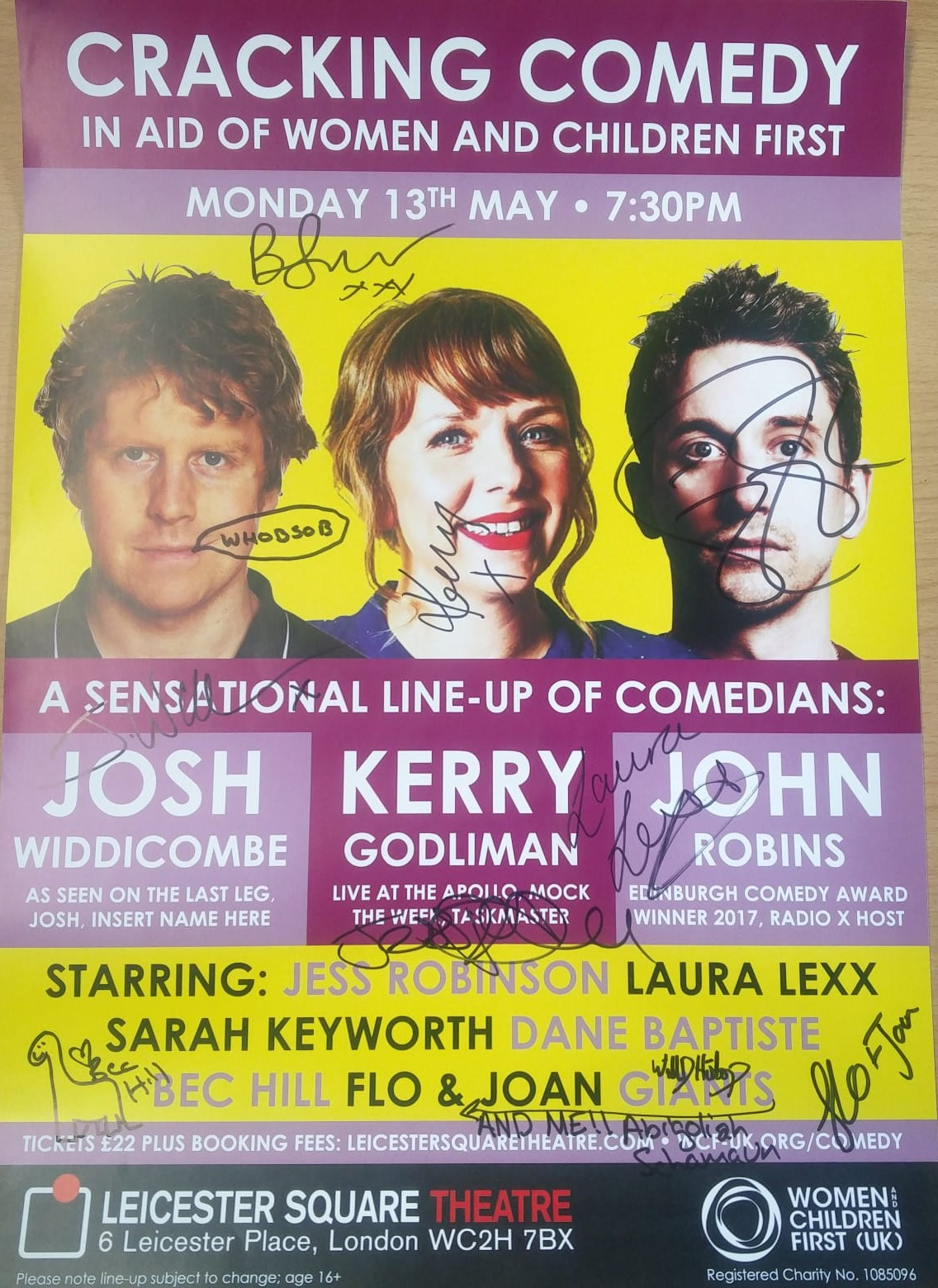 Signed Cracking Comedy in aid of Women and Children First A3 poster: bidding closes Friday 7th June